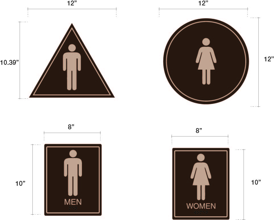 Bathroom Signs Circle And Triangle stylish california bathroom signage - starfish signs and graphics