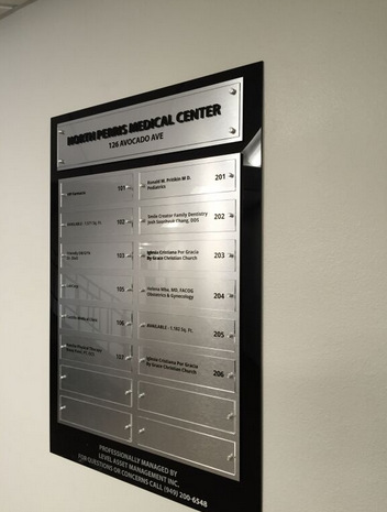 Office wayfinding signs Riverside County CA