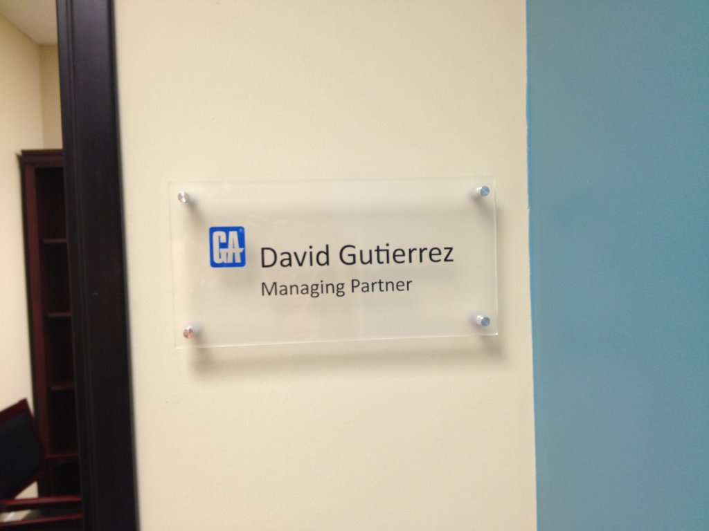 Suite signs made of acrylic in San Clemente CA