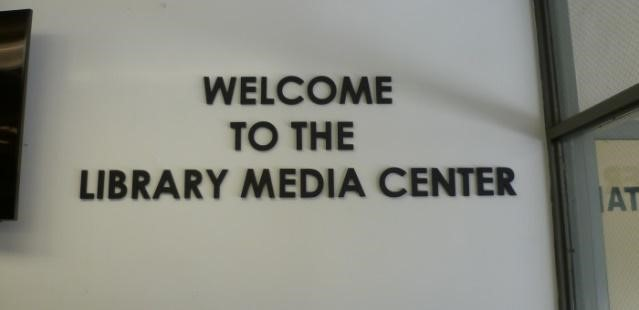 Library Media Center interior navigation signage