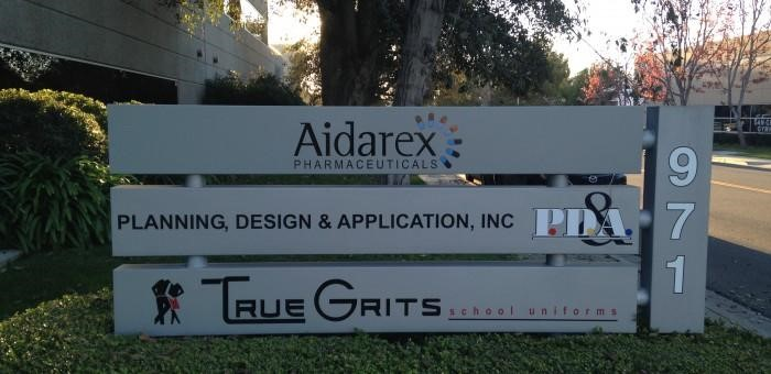 Aidarex Pharmaceuticals monument sign