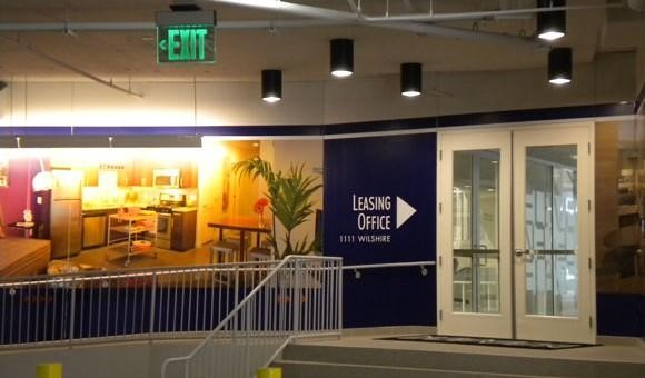 leasing office directional wall mural
