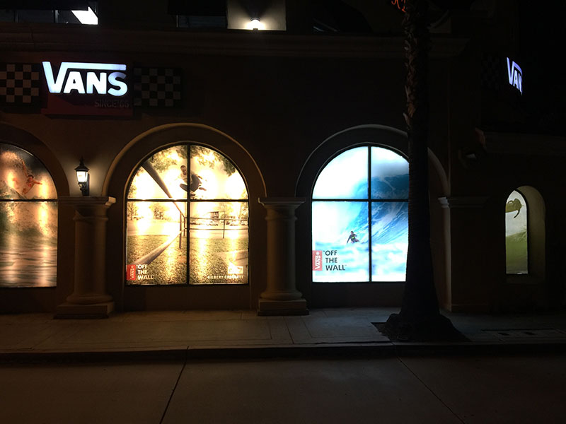 Vans-multiple-vinyl-window-display-fluorescent-LED-lighting