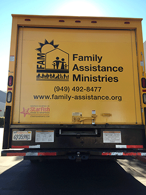 FAM truck back logos as vehicle graphics
