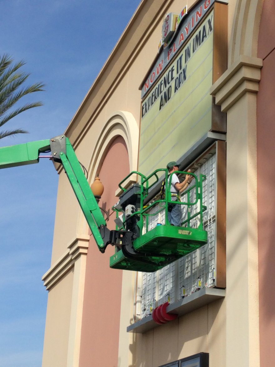 LED retrofit of an Edwards Regal Cinema marquis in San Diego