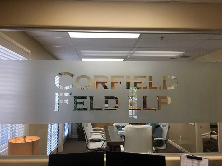 Corfield Feld LLP Glass project from Starfish Signs & Graphics