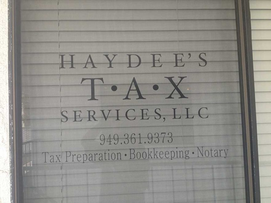 Haydee's Window Sign from Starfish Signs & Graphics