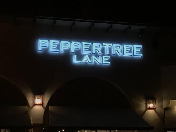 Peppertree Lane Halo Lit Channel Letters